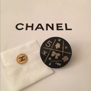 Rare Vintage Chanel Black Pin w Gold Inlay